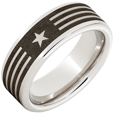 8mm Serinium™ Pipe Cut Band with American Laser Engraving