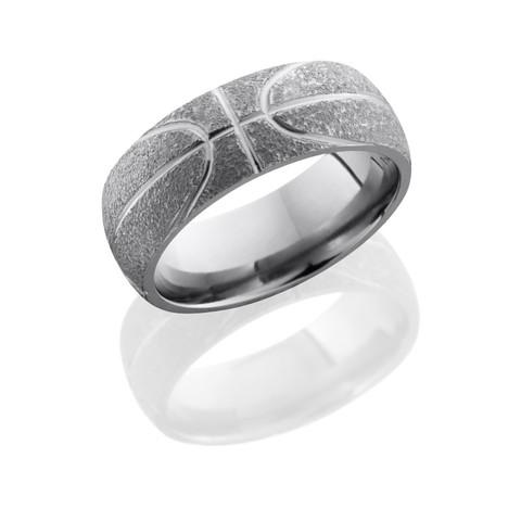 8mm Titanium Basketball Ring with Stipple Polish