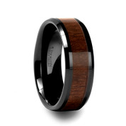 Black Walnut Wood Inlay Ring in Black Ceramic