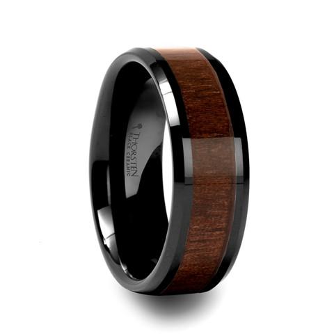 Black Walnut Wood Inlay Ring in Black Ceramic