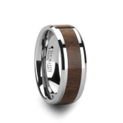 Black Walnut Wood Inlay Tungsten Ring