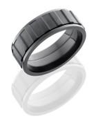 8mm Bead Polished Black Zirconium Gear Spinner Ring