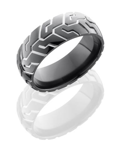 8mm Polished Black Zirconium Motorcycle Ring