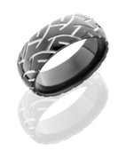 8mm Two Toned Black Zirconium Motorcycle Ring