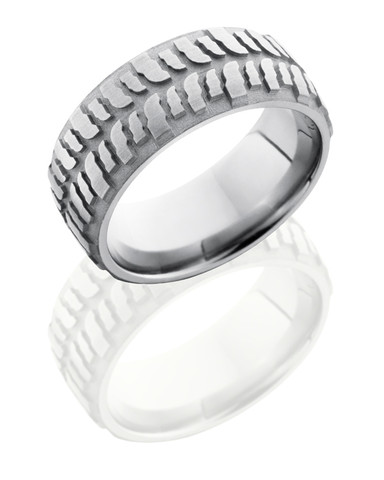 8mm Mud Bogger Sandblast Titanium Ring