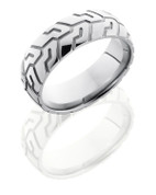 8mm Domed Tire Tread Polished Ring