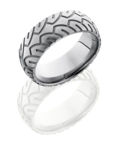 8mm Domed Tire Tread Satin Ring