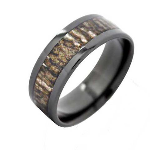 Mossy Oak Bottomland Black Camo Ring with a Flat Profile