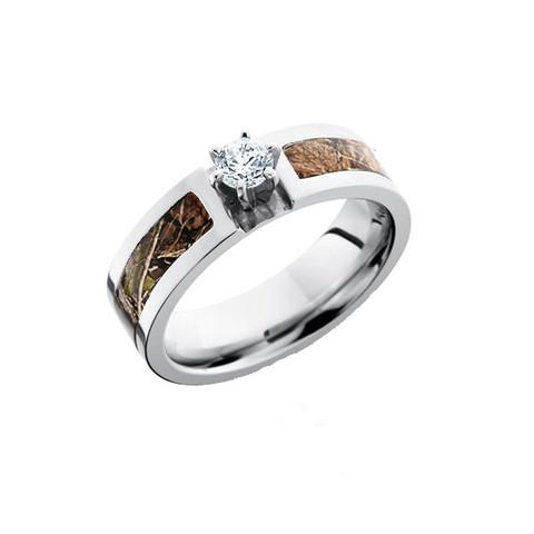 6mm Round Cut Diamond Camo Ring in Cobalt Chrome