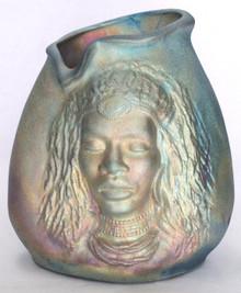 158 - African Woman Vase w/ Hair