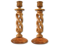 Olive Wood Candle Holders (9 inches in Height) 0505
