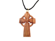 Celtic Cross Pendant- Olive Wood Celtic Cross Pendant 1.6 inches in Height W/Black Cord.