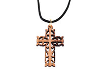 Olive Wood Filigree Cross Pendant 1.5 inches in Height