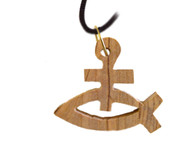 Olive Wood Fish With Cross Pendant. (1.2 inches in Height)