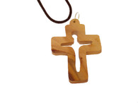 Olive Wood Risen Cross Pendant.(2 inches in Height)