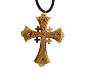 Olive Wood Jerusalem Cross Pendant (3 inches in Height)