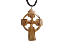 Olive Wood Celtic Cross Pendant.(2.4 inches in Height)