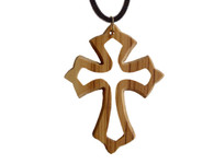 Olive Wood Inspirational Cross Charm.(2.4 inches in Height)