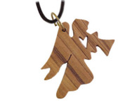 Olive Wood Angel Pendant.(1.2 inches in Height)