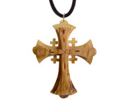 Olive Wood Jerusalem Cross Pendant (3.5 inches in Height).