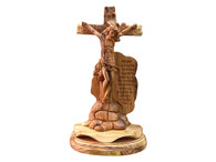 Museum Quality Olive Wood Crucifiction Statue -Sacrifice Of Christ - John 3:16 (7.90 inches in Width x 13.75 inches in Height)