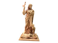 Olive Wood Jesus The Good Shepherd Statue- Museum Quality (6.66 inches in Width x 13.3 inches in Height)