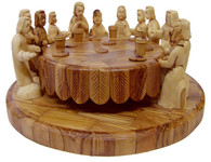 Olive Wood Last Supper Round Table (13 inches in width x 5.5 inches in height)