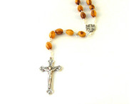 Olive Wood Oval Bead Rosary. (18 inches in Length)