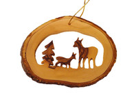 Olive Wood Ornament - Christmas Deer Family