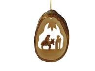 Olive Wood Flight Into Egypt Ornament.