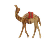 Olive Wood Camel With Red Saddle (6.25 inches in Height)