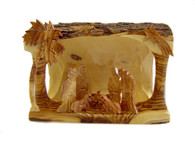 Olive Wood Bethlehem Cave-Large (5.5 inches in Height x 7.5 inches in Width)