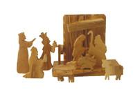 Olive Wood Nativity Set- Removable Figures 9 pcs W/Stable