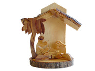Olive Wood Bethlehem Cave Nativity W/Bark (4.5 inches in Height)