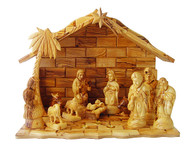 Three Kings Gifts Nativity Set- Deluxe Olive Wood Nativity Set w/ Gold, Frankincense and Myrrh embedded in the Stable.