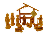 Olive Wood Exquisite Hand Carved Nativity Set From Bethlehem with Modern Style Stable.