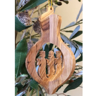 Olive Wood 3-D Nativity Ornament with Three Kings Large