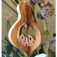 Olive Wood 3-D Nativity Ornament with the Village of Bethlehem Large