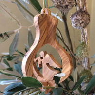 Olive Wood 3-D Nativity Ornament with Angel Large