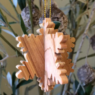 Olive Wood 3-D Snowflake Ornament small