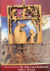 Bethlehem Olive Wood Nativity w/Angels Ornament (LZO-113)