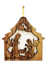 Bethlehem Olive Wood Nativity w/star Ornament (LZO-120)