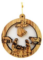 Bethlehem Olive Wood Nativity Ornament (LZO-124)