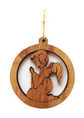 Bethlehem Olive Wood Angel Round Ornament (LZO-128)