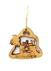 Bethlehem Olive Wood Nativity Ornament (LZO-146)