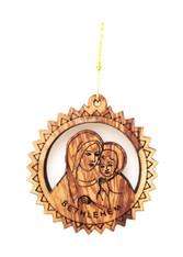 Bethlehem Olive Wood Mary w/Baby Ornament (LZO-149)