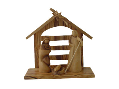 Olive Wood Modern Nativity Set with Stable