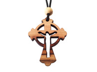 Olive Wood Celtic Risen Cross W/Cord 1.6 inches in Height