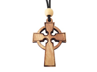 Olive Wood Celtic Cross W/Cord 1.6 inches in Height