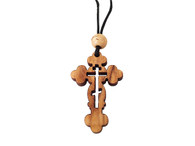 Olive Wood Easter Cross  W/Cord 1.6 inches in Height